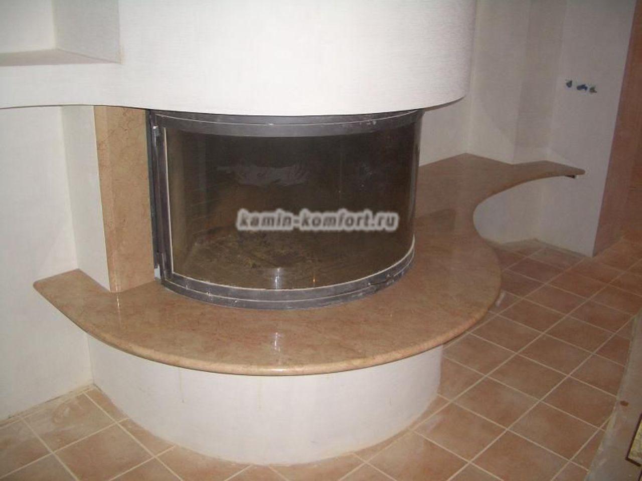 Фото Современное оформление каминной топки с панорамным стеклом