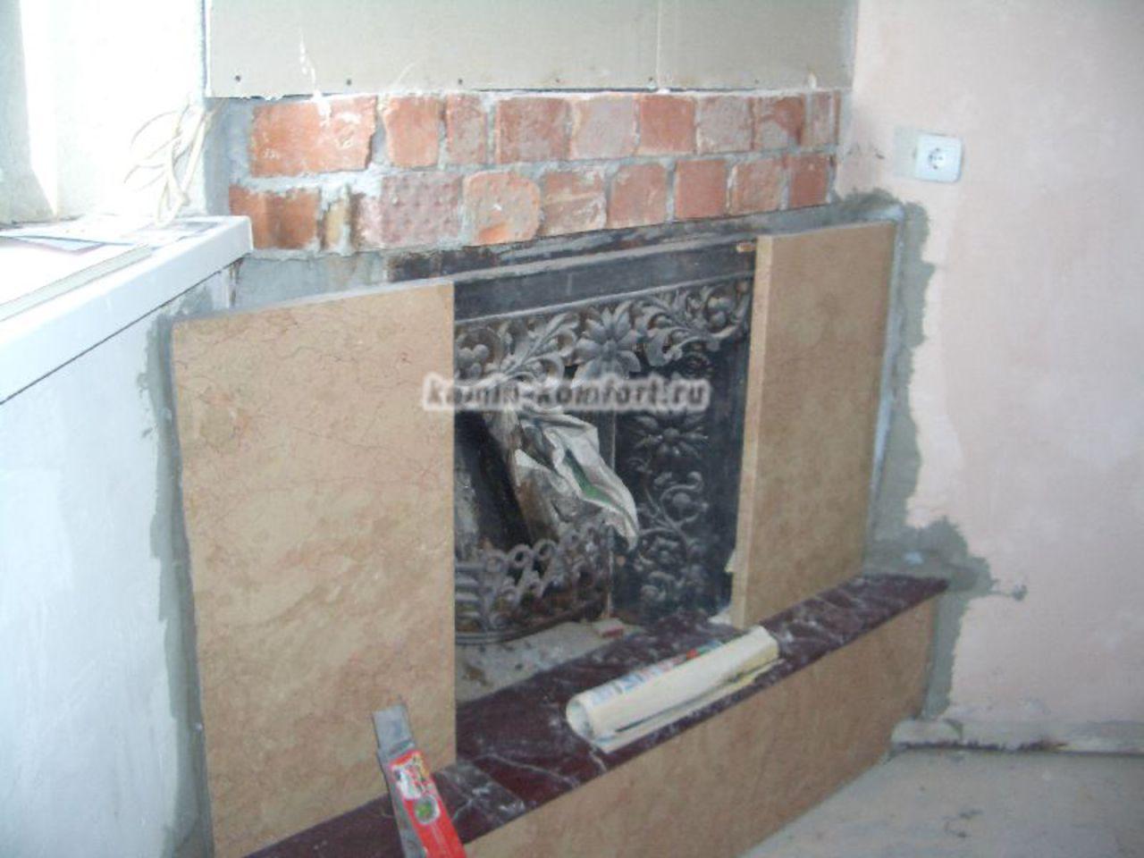 Фото Отделка существующего камина мрамором по индивидуальным размерам