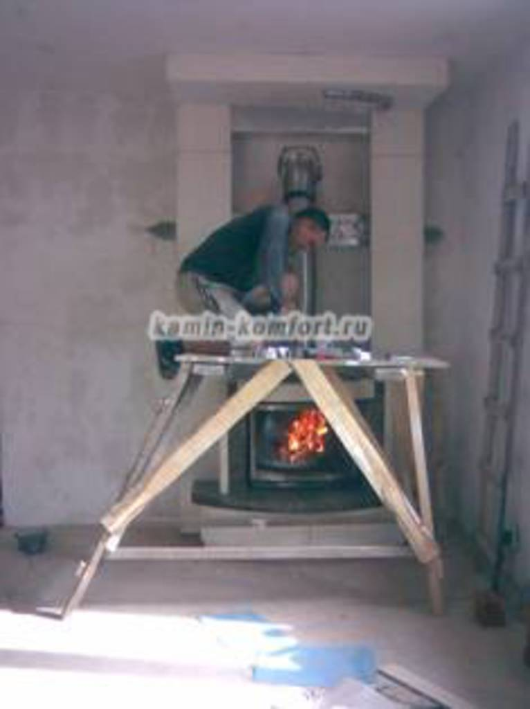 Фото Мраморный камин, установка термо-короба