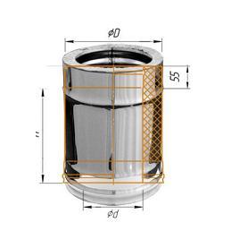 Фото Феррум - Дымоход двустенный, по воде L=250, D=115/200, AISI 430/ОЦ, 0,8/0,5 мм
