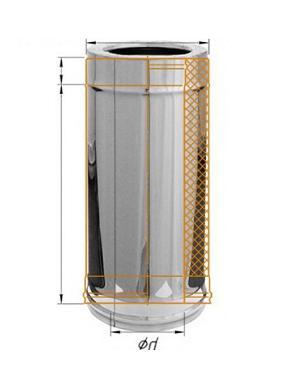 Фото Феррум - Дымоход двустенный, по воде L=500, D=115/200, AISI 430/430, 0,8/0,5 мм