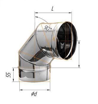 Фото Феррум - Колено 90°, D=115, AISI 430, 0,8 мм