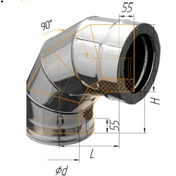 Фото Феррум - Колено двустенное 90°, по воде D=115/200, AISI 430/430, 0,8/0,5 мм