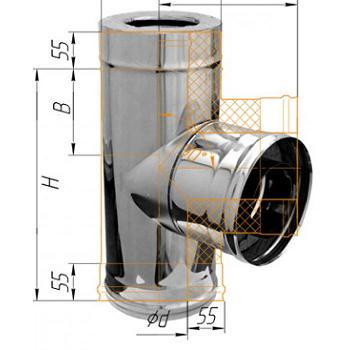 Фото Феррум - Тройник сэндвич 90°, по воде D=115/200, AISI 430/430, 0,5/0,5 мм