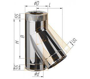 Фото Феррум - Тройник сэндвич 135°, по воде D=115/200, AISI 430/430, 0,5/0,5 мм