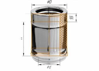 Фото Феррум - Дымоход двустенный, по воде L=250, D=120/200, AISI 430/430, 0,8/0,5 мм