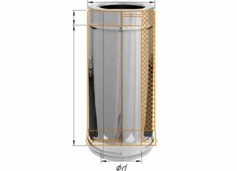 Фото Феррум - Дымоход двустенный, по воде L=500, D=120/200, AISI 430/430, 0,5/0,5 мм