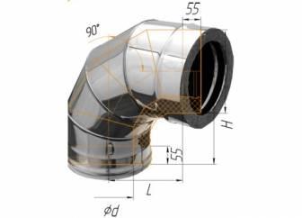 Фото Феррум - Колено двустенное 90°, по воде D=120/200, AISI 430/430, 0,8/0,5 мм