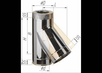 Фото Феррум - Тройник сэндвич 135°, по воде D=150/210, AISI 430/430, 0,5/0,5 мм