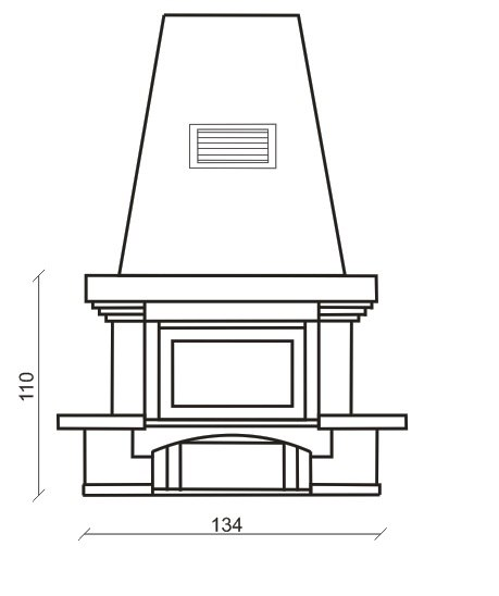 Камин Глория, схема, вид спереди